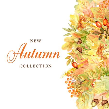Autumn leaf Frame isolated on a white background. Watercolor autumn leaf hand drawn illustration. New autumn collection