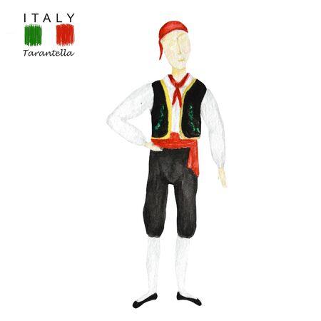 National costume dancing an Italian tarantella on white background. Man dancer in red black folk costume Italy