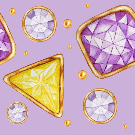 Seamless pattern Crystal in a gold frame and jewelry beads. Hand drawn watercolor yellow and purple Gemstone diamond. Bright colors Fabric texture. Purple Background for scrapbooking
