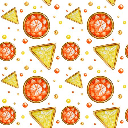 Seamless pattern Crystal in a gold frame and jewelry beads. Hand drawn watercolor yellow and orange Gemstone diamond. Bright colors Fabric texture. White Background for scrapbooking