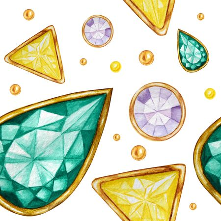 Seamless pattern Crystal in a gold frame and jewelry beads. Hand drawn watercolor green, yellow and purple Gemstone diamond. Bright colors Fabric texture. White Background for scrapbooking