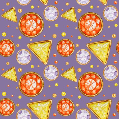 Seamless pattern Crystal in a gold frame and jewelry beads. Hand drawn watercolor yellow, orange and purple Gemstone diamond. Bright colors Fabric texture. Purple Background for scrapbooking