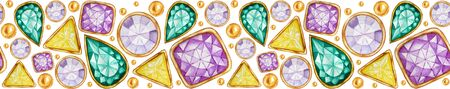 Seamless pattern Crystal in a gold frame and jewelry beads for banner. Hand drawn watercolor Gemstone diamond. Bright colors Fabric texture. White Background for scrapbooking