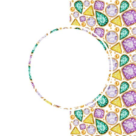 Greeting card with copy space for text in white round frame on Crystal in a gold frame pattern background. Hand drawn Bright colors watercolor Gemstone diamond. Stockfoto