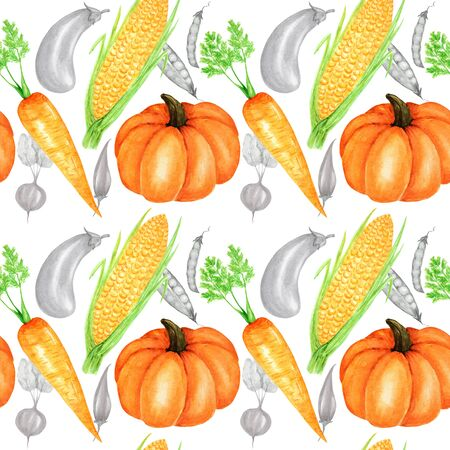 Seamless pattern Watercolor painted collection of orange vegetables pumpkin, corn, carrot. Hand drawn fresh vegan food on white background. Fabric autumn texture