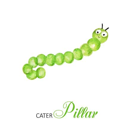 Funny caterpillar watercolor, bright cartoon insects. Greeting card with text. Isolated worm on white background Reklamní fotografie