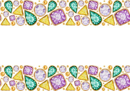Seamless pattern Crystal in a gold frame and jewelry beads. Hand drawn watercolor Gemstone diamond. Bright colors Fabric texture. White Background for scrapbooking. Greeting card with copy space for text.