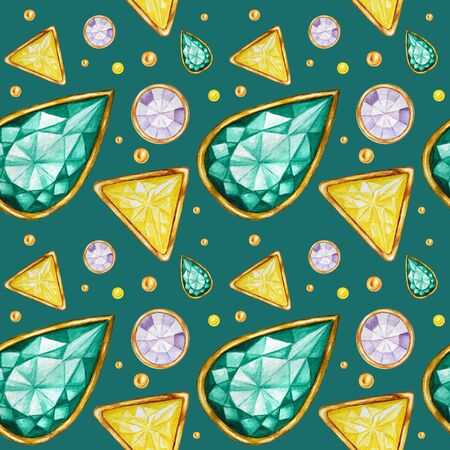 Seamless pattern Crystal in a gold frame and jewelry beads. Hand drawn watercolor green, yellow and purple Gemstone diamond. Bright colors Fabric texture. Green Background for scrapbooking