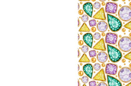 Greeting card or business card concept with copy space for text. Crystal in a gold frame pattern background. Hand drawn Bright colors watercolor Gemstone diamond.