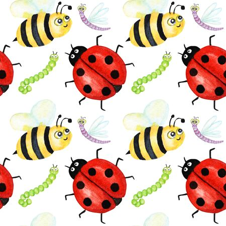 Seamless pattern Watercolor painted Funny bright cartoon insects collection. Wasp, bee, bumblebee, worm, caterpillar, ladybug, dragonfly on withe background