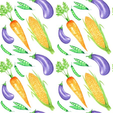 Seamless pattern Watercolor painted collection of orange vegetables corn, carrot, peas, eggplant. Hand drawn fresh vegan food on white background. Fabric autumn texture