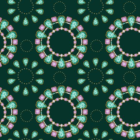Seamless pattern Crystal in a gold frame and jewelry beads. Hand drawn watercolor green and purple Gemstone diamond bracelet. Bright colors Fabric texture. Green Background for scrapbooking