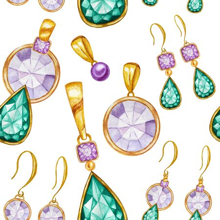 Seamless pattern with earrings and pendants of Crystal in a gold frame. Hand drawn watercolor Gemstone diamond jewelry. Bright colors green, purple Fabric texture. White Background for scrapbooking Stockfoto