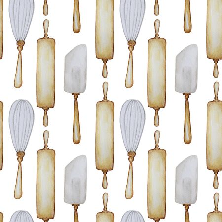 Seamless pattern Hand drawn Wooden Kitchen accessories Set for baking. Watercolor illustration, isolated on white background. Its cooking time. Baking tools. Fabric texture