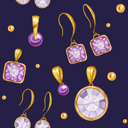 Seamless pattern with earrings and pendants of Crystal in a gold frame. Hand drawn watercolor Gemstone diamond jewelry. Bright colors green, purple Fabric texture. Blue Background for scrapbooking Stockfoto