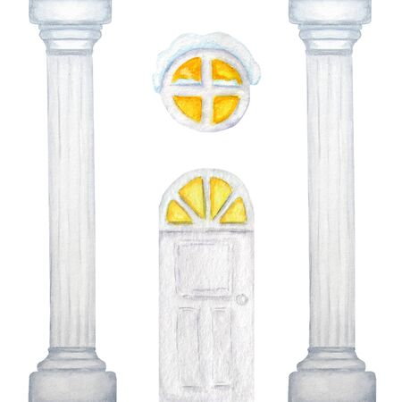 Watercolor white column frame with luminous window and door. Watercolor handmade drawing capitals of the marble column.