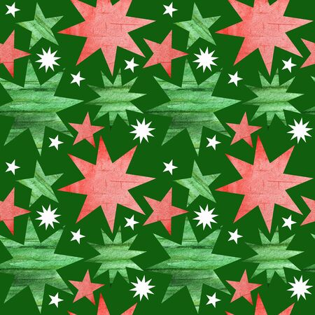 Seamless pattern with green, red and white christmas stars. Bright Green background in simple style with stars. Best design for card, poster, banner. New year Fabric texture and paper design