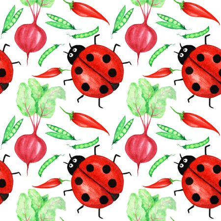 Seamless pattern Watercolor painted collection of red vegetables and ladybug insect. Hand drawn fresh vegan food design elements isolated on white background. Stock Photo