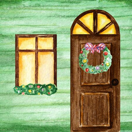 Watercolor dark wodden doors and windows in vintage style on green background wall with Christmas wreath decorations. Hand drawing of New Year greeting card, poster Stockfoto