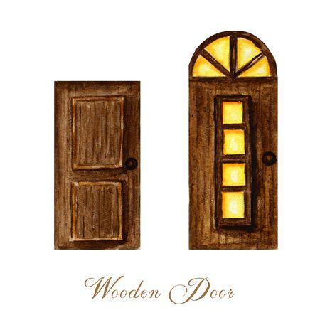 Watercolor wodden doors with windows in vintage style on white background. Hand drawing of dark brown wood door set.
