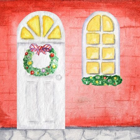 Watercolor white wodden doors and luminous windows in vintage style on red background wall with Christmas wreath decorations. Hand drawing of New Year greeting card, poster
