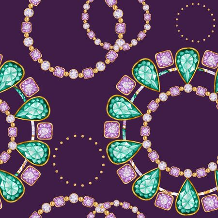Seamless pattern Crystal in a gold frame and jewelry beads. Hand drawn watercolor green and purple Gemstone diamond bracelet. Bright colors Fabric texture. Purple Background for scrapbooking