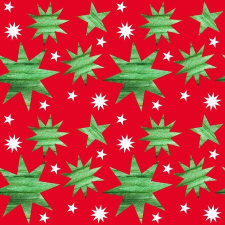 Seamless pattern with green and white christmas stars. Bright Red background in simple style with stars. New year Fabric texture