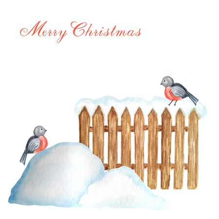 Decorative brown wooden fence in winter with snow and Bullfinch bird couple and snowdrifts. Front view, arrow head. Watercolor Greeting card concept with copy space for text. Stockfoto