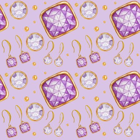 Seamless pattern with earrings and pendants of Crystal in a gold frame. Hand drawn watercolor Gemstone diamond jewelry. Bright colors green, purple Fabric texture. Purple Background for scrapbooking
