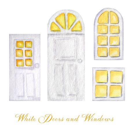 Watercolor wodden doors and luminous windows in vintage style on white background. Hand drawing of white door set. Stockfoto