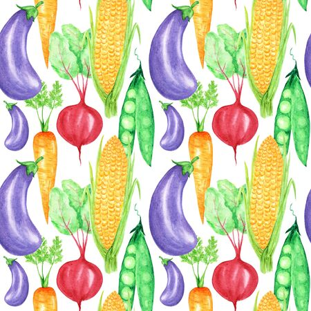 Seamless pattern Watercolor painted collection of orange vegetables corn, carrot, peas, eggplant, beet. Hand drawn fresh vegan food on white background. Fabric autumn texture