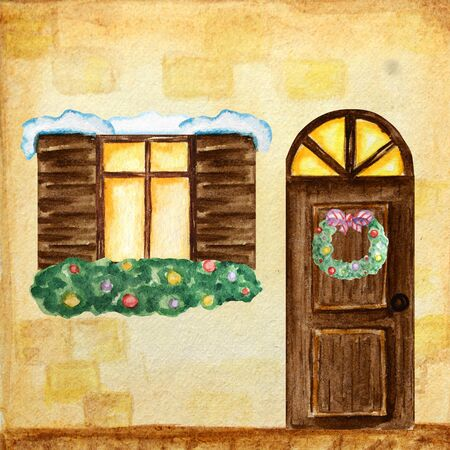 Watercolor dark wodden doors and windows in vintage style on yellow background wall with Christmas wreath decorations. Hand drawing of New Year greeting card, poster