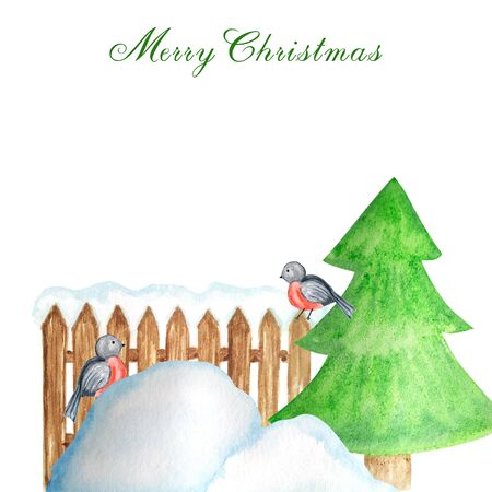 Decorative brown wooden fence in winter with snow, Christmas tree and Bullfinch bird couple and snowdrifts. Front view, arrow head. Watercolor Greeting card, poster concept with copy space for text. Stockfoto