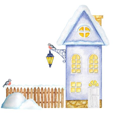 Cartoon Winter House, brown wooden fence with snow, luminous Street Lamp, snowdrifts and Bullfinch bird couple. Front view. Watercolor Greeting card, poster, banner concept with copy space for text. Stockfoto