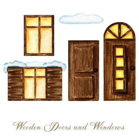 Watercolor winter wodden doors with windows and luminous window in vintage style on white background. Hand drawing of dark brown wood door set. Stockfoto