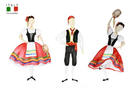 Dancers in red national costume an Italian tarantella with a tambourine on white background. Set of Woman and man dancer in red folk costume Italy. Watercolor Illustration Фото со стока