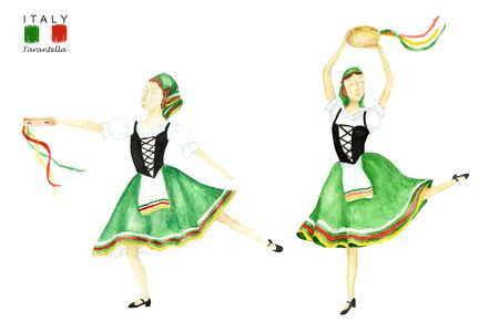 Green national costume dancing an Italian tarantella with a tambourine on white background. Set of Woman dancer in green folk costume Italy. Watercolor Illustration