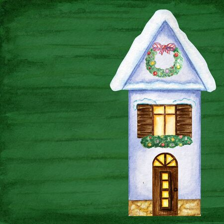 Winter House with snow, luminous windows, snowdrifts and Christmas decoration. Front view. Cartoon Watercolor Greeting card, poster, banner concept with copy space for text. Dark Green background Stockfoto