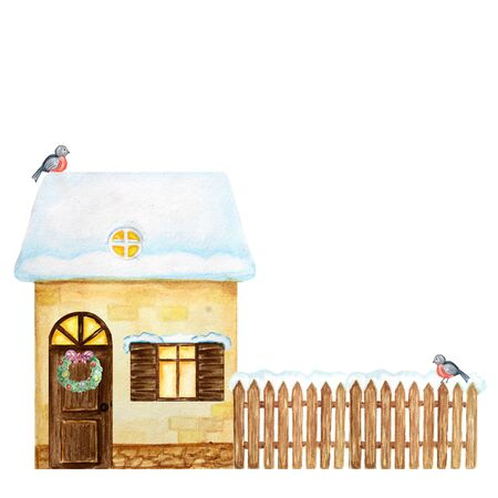 Winter yellow House, brown wooden fence with snow and Bullfinch bird couple. Front view. Cartoon Watercolor Greeting card, poster, banner concept with copy space for text. Stockfoto