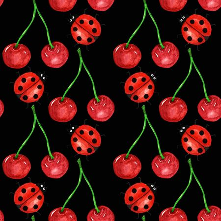 Seamless pattern Watercolor painted red cherry. Fabric texture. Cartoon Funny bright insects Hand drawn fresh vegan food and ladybug on black background.