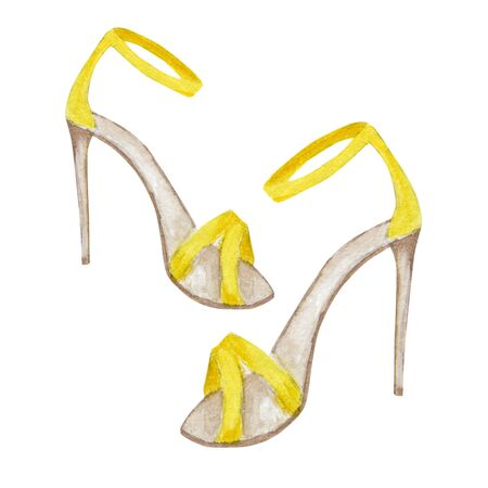 yellow fashion womens shoes on the high heels. Painted hand-drawn watercolor Illustration isolated on a white background. Smart luxury lady shoe collection. Banco de Imagens