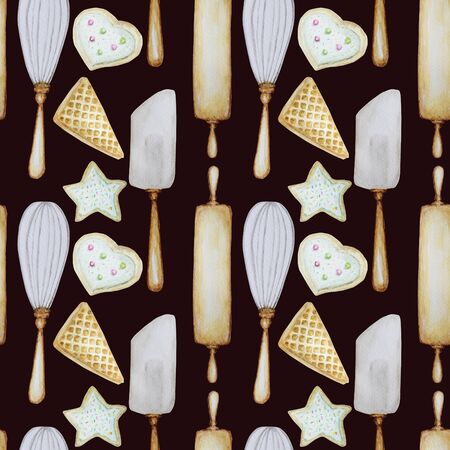 Seamless pattern Hand drawn Wooden Kitchen accessories Set for baking. Watercolor illustration, isolated on dark brown background. Fabric texture. Its cooking time. Baking tools.