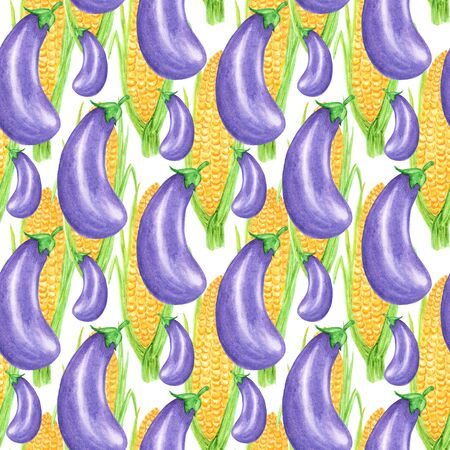 Seamless pattern Watercolor painted collection of vegetables yellow corn and purple eggplant. Fabric autumn textureHand drawn fresh vegan food on white background.