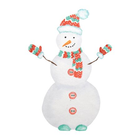 watercolor Christmas snowman. Cartoon Winter Snowman in hat and scarf. Isolated illustration on a white background. Symbol of new year.