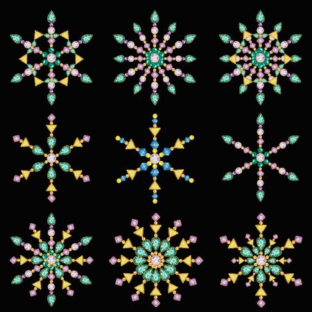Black background Watercolor Christmas snowflake crystal set. Beautiful bright colors jewelry decoration. Fashion brilliant stones, rhinestones. New Year greeting card design concept. Nine snowflakes