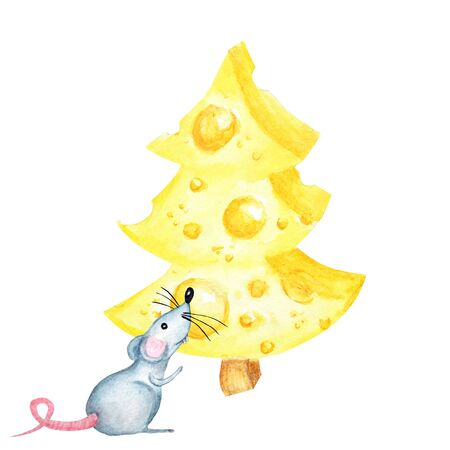 Christmas cheese tree with rat. New year greeting card 2020. Watercolor drawing piece of cheese yellow in color is mouse favorite food. Illustration on white background Imagens