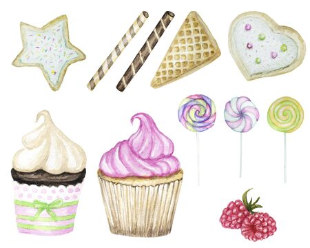 Set of Sweets hand drawn deserts with Cream and biscuit, waffle, piece of layered cake and cupcake. Sweet and beautiful dessert. Watercolor delicious food illustration isolated on white background.