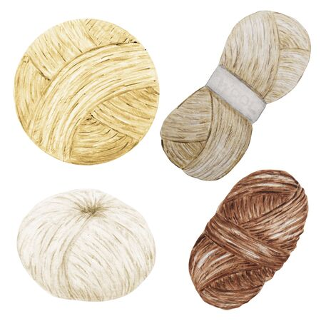 Watercolor Clip Art Hobby Knitting and Crocheting, Wool Yarn Cute Clipart Set. Collection of hand drawn balls of yarn for knitting natural scandinavian colors, brown, white, beige