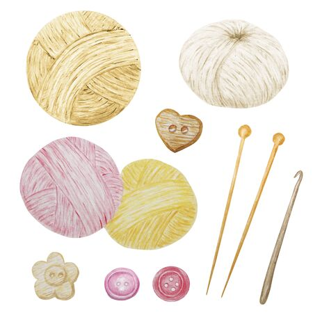 Watercolor Clip Art Hobby Knitting and Crocheting , Wool Yarn Cute Clipart Set. Collection of hand drawn balls of yarn for knitting