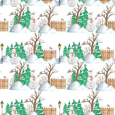 Seamless pattern New Year Christmas tree, fence, street lamp and Snowman on white background. Watercolor Winter nature illustration. Hand drawn vintage fabric paper texture design.